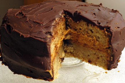 Banana Cake with Peanut Butter Filling and Chocolate ...