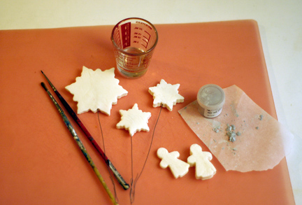 Gum paste snowflakes and angels with brushes, alcohol and luster dust