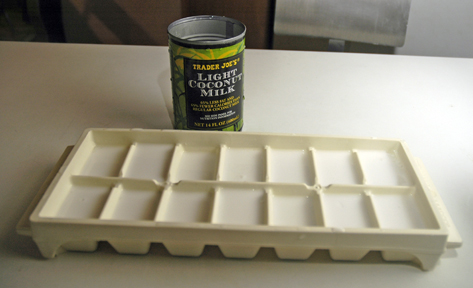 One can of Trader Joe's Light Coconut Milk fills one ice cube tray. How convenient!