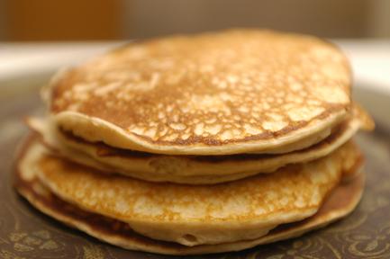 high protein pancake stack