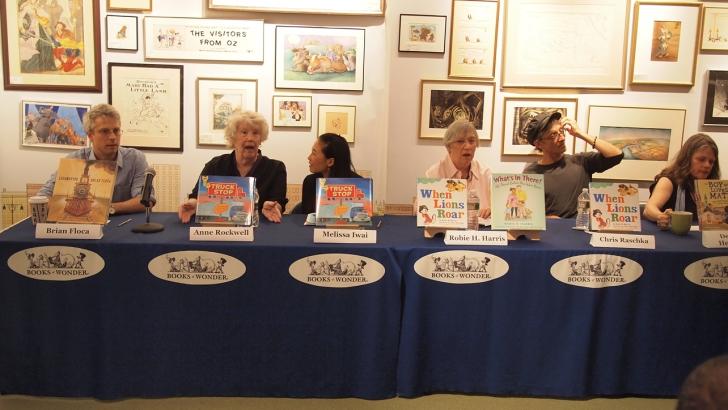 With Brian Floca, Anne Rockwell, Robie Harris, Chris Raschka, Deborah Heiligman.  Not pictured are Leyuen Pham, Doreen Cronin, and Betsy Lewin.
