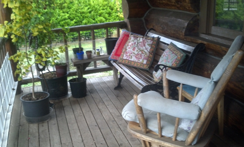 This is where I did morning stretching -- on the cabin porch overlooking the field.