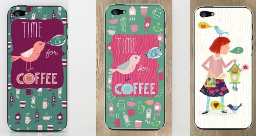 !st two are the same design with a different color treatment and placement of coffee and clock icons.