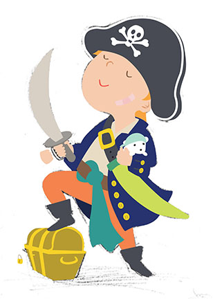 This is my pirate after I drew every shape in Illustrator.  it was WAY tedious!