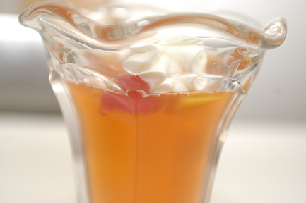 Peach Jell_O with no sugar added fruit cocktail -- a classic
