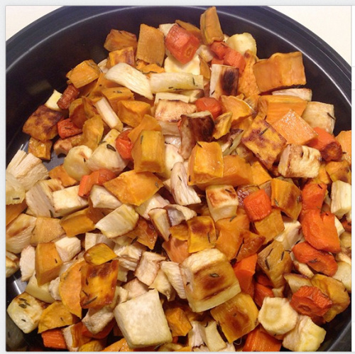 cooked root veg