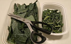 kale with scissors